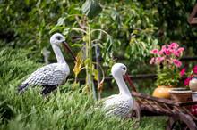 Garden Utensils, Tree Figurines, Stork Garden Decor.