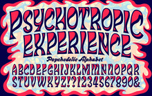 Swirling Flowing Font In The Style Of Psychedelic 1960s Lettering