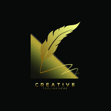 Feather Pen Logo Gold With Cre...