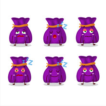 Cartoon Character Of Purple Candy Sack With Sleepy Expression