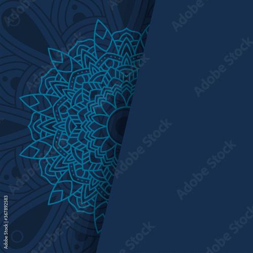 Obraz decorative floral blue mandala ethnicity artistic icon - fototapety do salonu