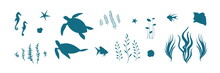 Vector Set With Underwater Animal Illustration With Turtles, Fish, Seahorses And Algae. Blue Silhouette Of Undersea Wildlife Elements. Marine Life Cartoon Collection