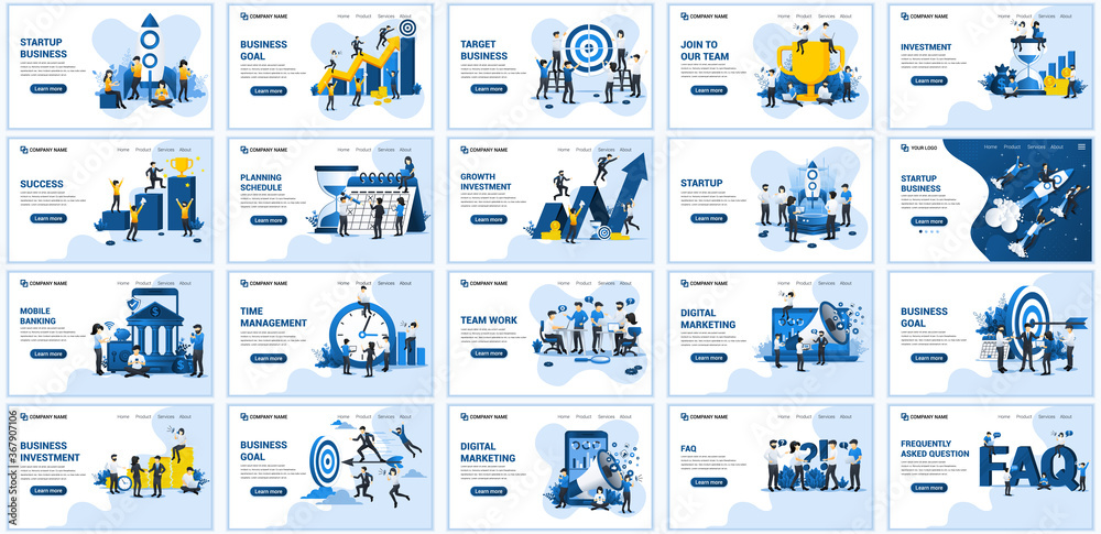 Fototapeta Set of landing page design templates, Big collection concept of business flat vector illustration. can use for web banner, infographics, landing page, web template