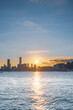 canvas print picture - Sunset of Kowloon area, downtown area of Hong Kong