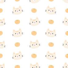 Cute Cat And Orange Seamless Pattern Background