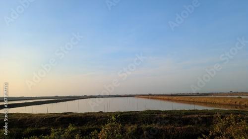 Natural landscape fishpond and blue sky when morning Wallpaper Mural