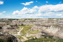 A Summer View Of Horseshoe Canyon In Alberta Canada Where People Practice Social Distancing Amid Covid 19.