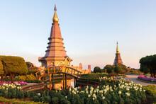 The Great Holy Relics Pagoda Nabhamethanidol And Nabhapolbhumisiri With Beautiful Sunset Sky Background At Doi Inthanon Chiang Mai, Thailand.