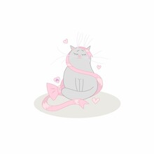 Gray Cat Zodiac Sign Virgo With Pink Bow