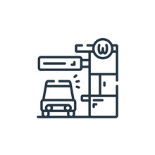 Drive Thru Icon Vector From Fast Food Concept. Thin Line Illustration Of Drive Thru Editable Stroke. Drive Thru Linear Sign For Use On Web And Mobile Apps, Logo, Print Media.