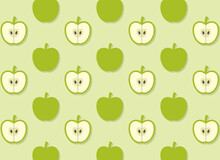 Green Apple Seamless Pattern With Yellow Green Background