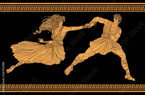 Obraz na plátně orange and black figures of hades kidnapping persephone