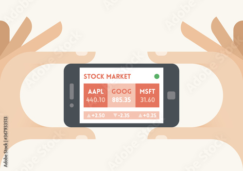Mobile smartphone with US stock market indices (Apple, Google, Microsoft) ticker in businessman hands Wallpaper Mural