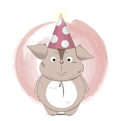 creature cartoon with party hat