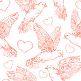 Doves and heart seamless pattern - vector illustration. Realistic hand drawn sketch. Pigeons - wedding design element. Symbol of peace, true love, romance, marriage icon isolated on white. - 367937575