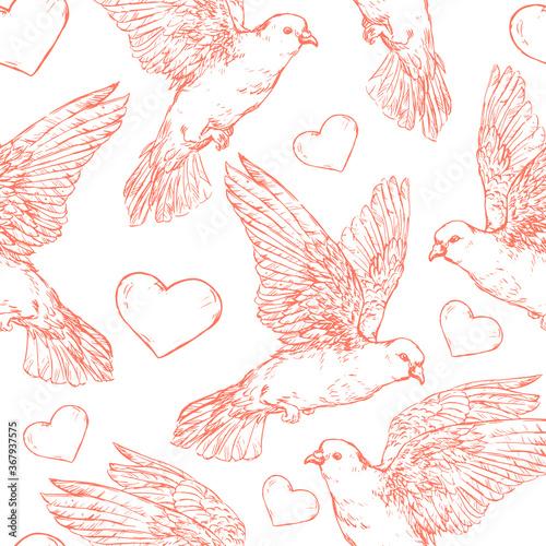 Obraz na plátně Doves and heart seamless pattern - vector illustration