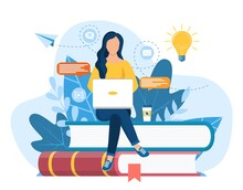 Girl Sitting On Pile Of Books. Concept Illustration Of Online Courses, Distance Studying, Self Education, Digital Library. E-learning Banner. Online Education. Vector Illustration In Flat Style