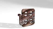 Socket Box Made By 3D Illustration Of A Shiny Metallic Sculpture Casting Shadow On Light Background. Electric And Electrical