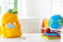 Backpack Of School Child. Face...