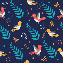 Pattern With Birds And Leaves....