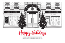 Christmas Fashion Boutique Facade With Holidays Decoration. Happy New Year Celebration Greeting Card Background. City Street With Shop Window And Christmas Trees. Black And White Vector Illustration.