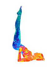 Abstract Young Woman Is Engaged In Yoga Or Pilates, Doing Exercises From Splash Of Watercolors. Vector Illustration Of Paints