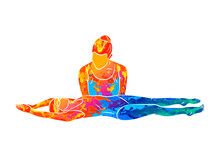 Abstract Little Girl Learning To Swim With Coach From Splash Of Watercolors. Vector Illustration Of Paints. Kids Swimming