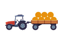 Tractor With Hay Bales In Cart Agricultural Machinery Cartoon Vector Illustration On White Background