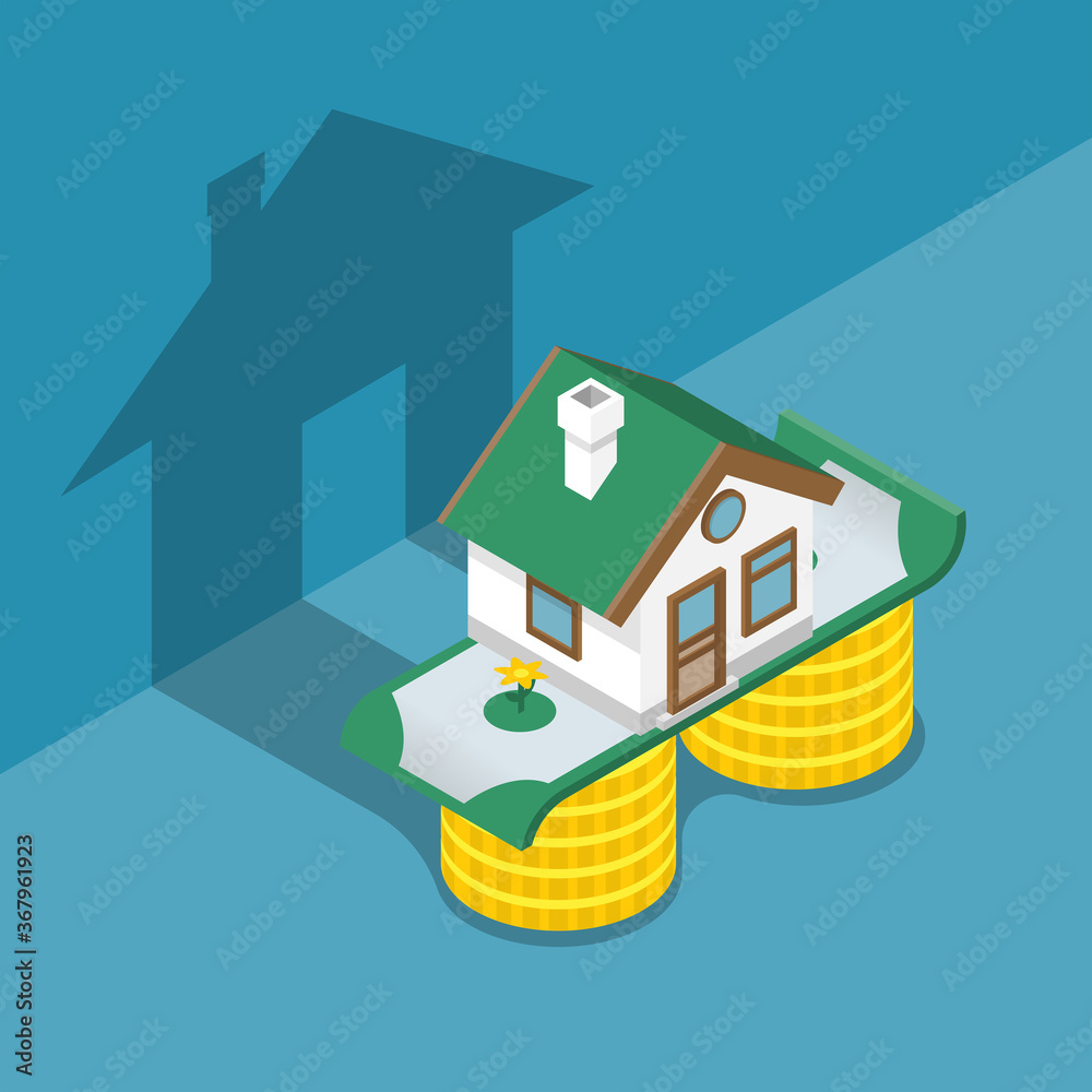 Fototapeta Investing money in a house. Home is on a stack of money and bills. Shadow on the wall. Vector illustration isometric 3D design. Isolated on background.