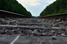 Railway Track With A Background Of Clouds