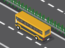 Yellow Bus On The Highway