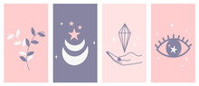 Vector Set Of Abstract Mystic Logo Design Templates In Simple Linear Style With Moon, Stars And Eye Elements Symbols For Instagram Social Media Stories Highlights And Posts
