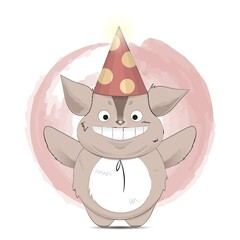 happy creature cartoon with party hat