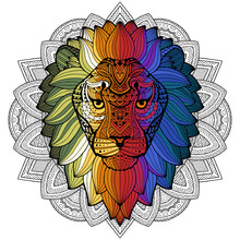 Lion Ethnic Graphic Style With Herbal Ornaments And Patterned Mane. Vector Illustration. Patterned Head Of The Lion On The Grunge Background. African / Indian / Totem Design.