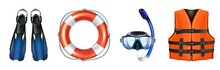 3d Realistic Vector Collection Of Sea Equipment For Swimming, Snorkeling. Life Vest, Mask. Isolated On White Background.