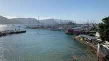 Taken From Jubilee Square Lookout Point False Bay Yacht Club Marina And Naval Port With Navy Ships And Yachts At Simon's Town Harbour In False Bay On The Cape Peninsula