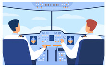 Aviation And Flight Concept. Airplane Pilots And Copilot Navigating Plane From Cabin. Airplane Crew At Control Panel. Vector Illustration For Travel, Transport, Airlines Topics