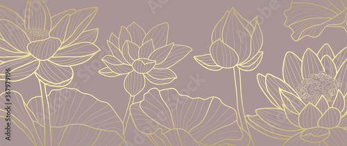 Luxury wallpaper design with Golden lotus and natural background. Lotus line arts design for fabric, prints and background texture, Vector illustration.