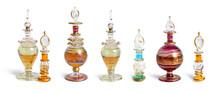 Vintage Perfume Bottles Set. Isolated On White Background