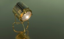 3D Rendering Of A Golden Lamp On A Dark Green Background