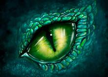 Digital Illustration Yellow Eye Of Green Snake