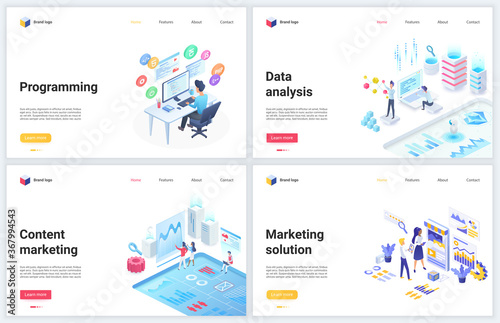 Fotografiet Isometric data analysis, development marketing vector illustrations