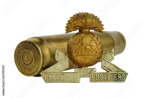 Papel de parede World War 1 Lancashire Fusiliers cap badge, the Lancashire Fusiliers was a Briti