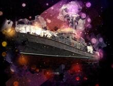Military Ship Goes Through The Rough Atlantic Sea Illustration Vintage Retro Art Drawing