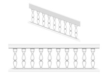White Marble Balustrade For Balcony, Porch Or Garden And Handrail For Staircase In Classic Roman Style. Vector Realistic Set Of Baroque Stone Railing, Banister With Pillars, Antique Fence With Columns