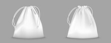Backpack Bag With Drawstrings Isolated On Transparent Background. Vector Realistic Mockup Of School Pouch For Clothes And Shoes, White Full Sport Knapsacks With Strings