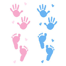 Baby Shower Theme.Baby Girl, Baby Boy Symbols. Hand Print, Foot Print Vector