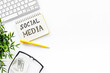 canvas print picture - Social media trends concept with laptop. Office workplace flat lay