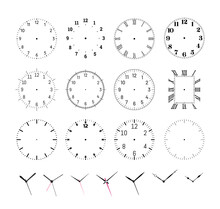 Set Of Round Clock Faces. Template For Wall Clock And Wrist Watch Dials With Arabic And Roman Numerals. Hour, Minute And Second Hands Outline Vector Illustration Isolated On White Background