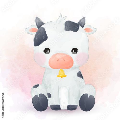 Obraz Cute baby cow illustration in watercolor. cute animal illustration, animal clip-art, baby shower decoration, watercolor illustration.  - fototapety do salonu